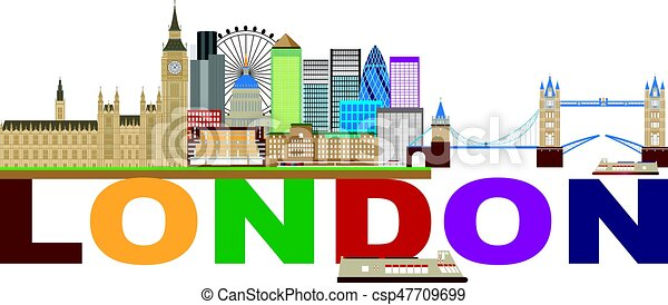 La ilustración de texto en color de Londres - csp47709699