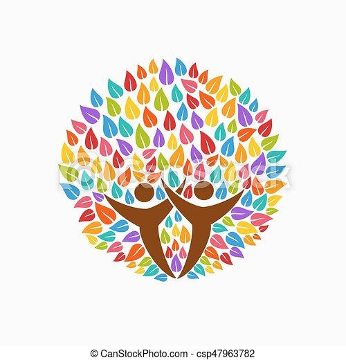 Color Tree People Symbol For Community Team Help Multicolor Tree