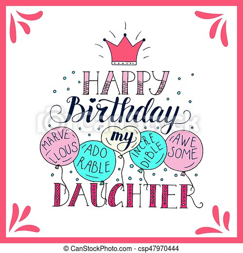 color vector birthday card for daughter unique lettering eps rh canstockphoto co uk