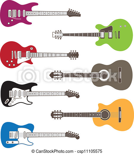 Color Vector Silhouettes Of Acoustic And Electric Guitars