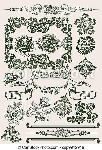 Un adorno de flores de color - csp9912919
