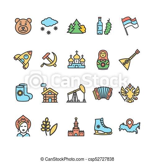Rusia viaja y turismo color icono línea delgada. Vector - csp52727838