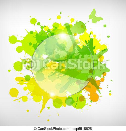 Publicidad de vidrio con manchas de color - csp6918628