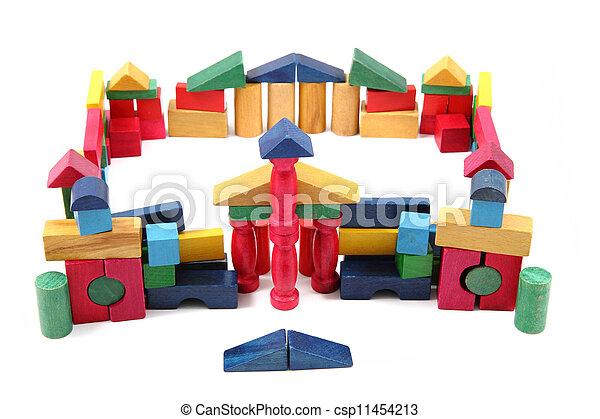 color wooden blocks - csp11454213