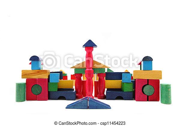 color wooden blocks - csp11454223