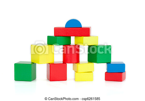 Color wooden building blocks - csp6261585