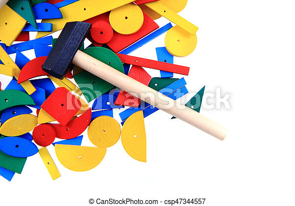 color wooden toy shapes - csp47344557