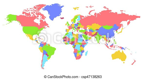 color world map political map every country is isolated clip art rh canstockphoto ie clip art world map border clip art world map free