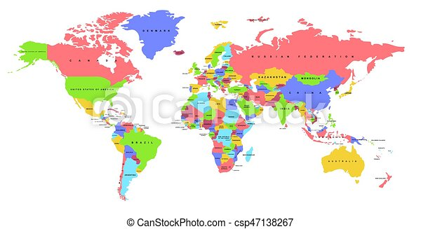 Color world map political map color world map with the names of color world map political map csp47138267 gumiabroncs Choice Image