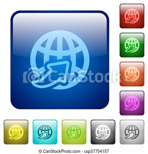Color worldwide square buttons - csp37754157