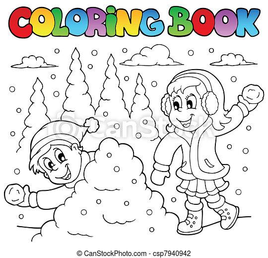 coloração, tema, 2, livro, inverno - csp7940942
