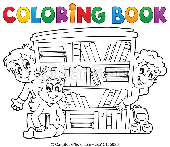 coloração, tema, 2, livro, pupila - csp15135020