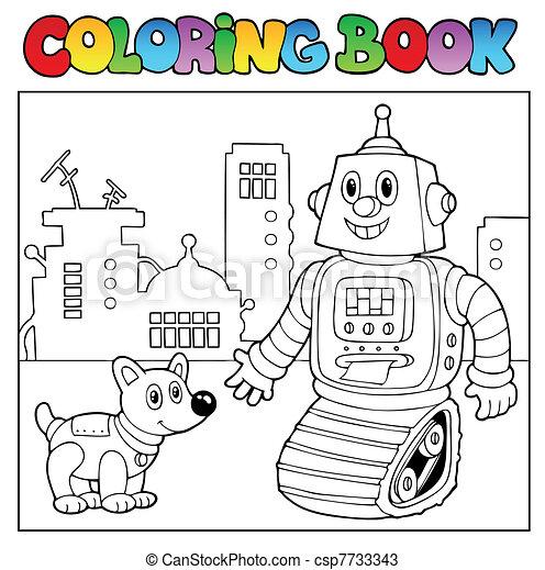 coloração, tema, 2, livro, robô - csp7733343