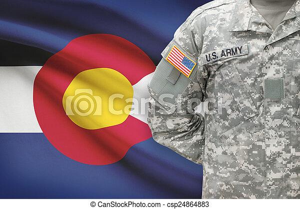 colorado, -, állam, bennünket, katona, lobogó, háttér, amerikai - csp24864883