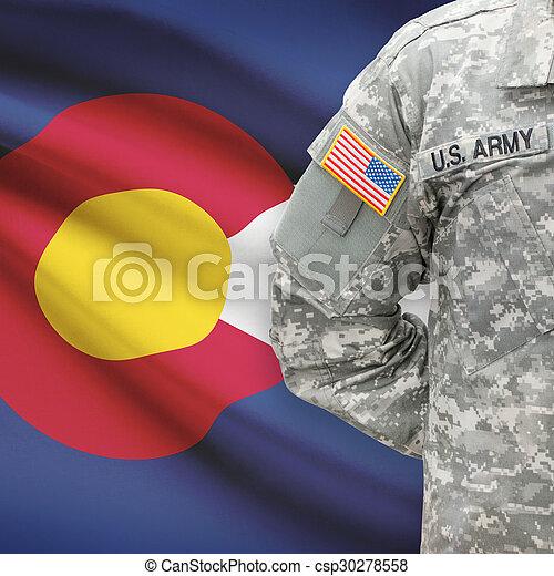 colorado, -, állam, bennünket, katona, lobogó, háttér, amerikai - csp30278558