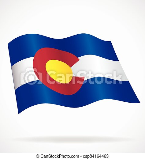 colorado co state flag flying waving vector - csp84164463