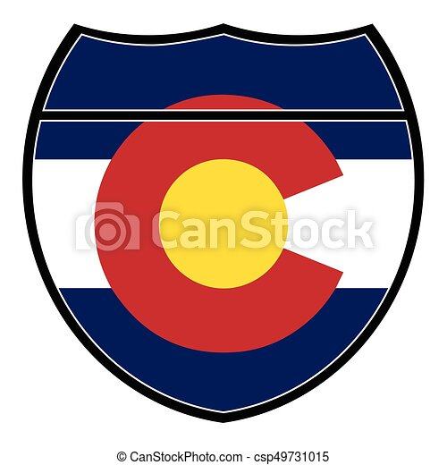 colorado flag in an interstate sign over a white background vector rh canstockphoto com colorado state flag vector art colorado flag vector file