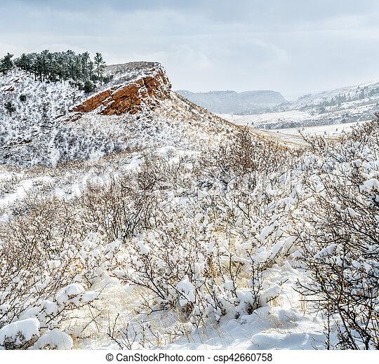 Colorado foothills in fresh snow - csp42660758