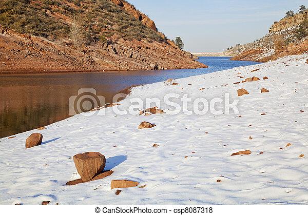 Colorado lake in winter scenery - csp8087318