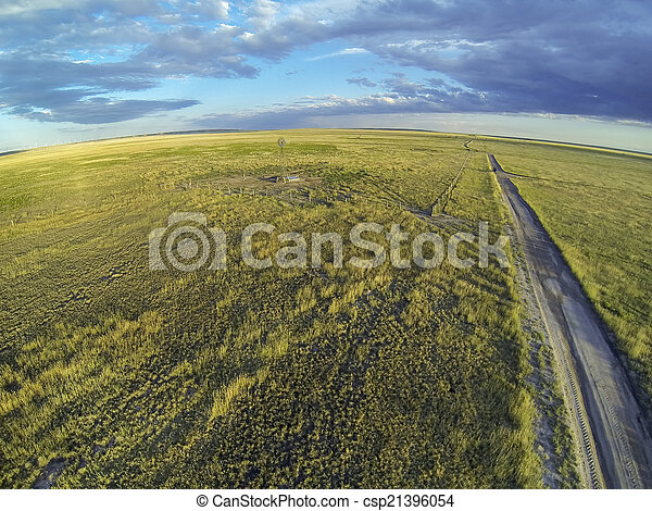 Colorado prairie in sunset light - csp21396054