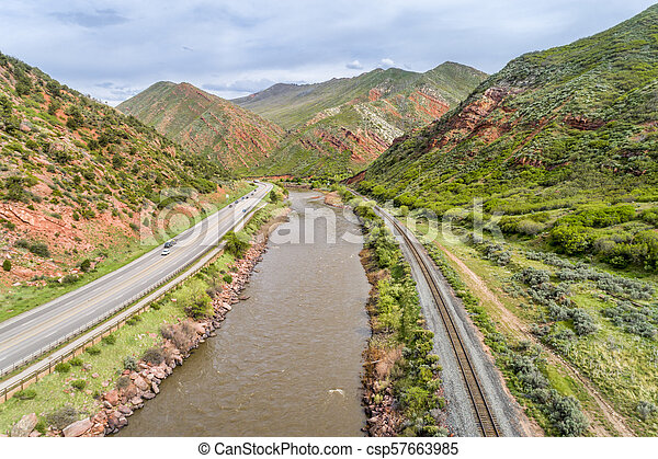 Colorado River and highway aerial view - csp57663985