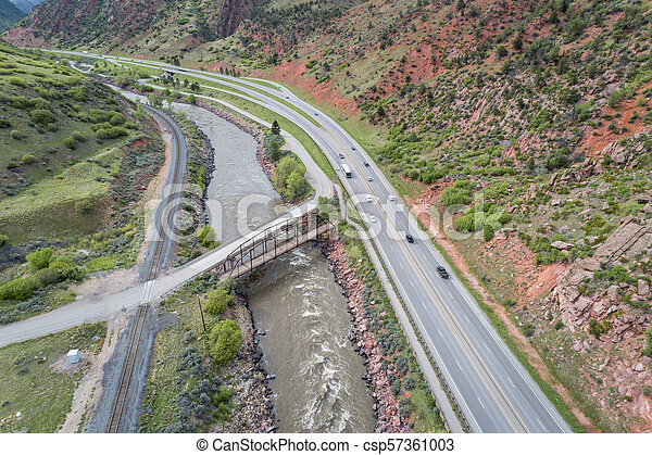 Colorado River and highway aerial view - csp57361003