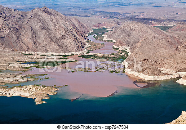 Colorado River joins Lake Mead - csp7247504