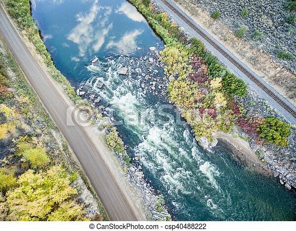 Colorado RIver rapid aerial view - csp40488222