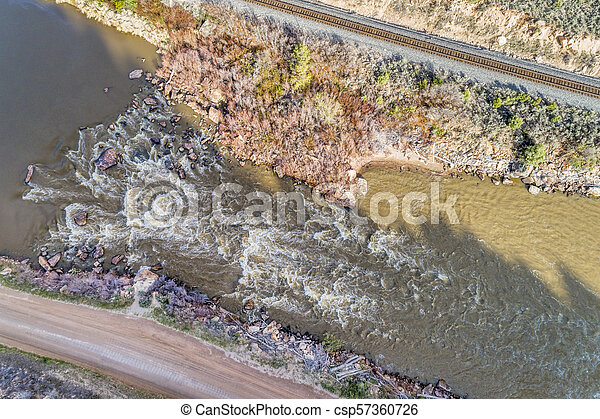 Colorado River rapid aerial view - csp57360726