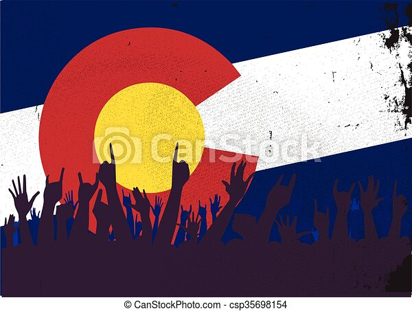 Colorado State Flag with Audience - csp35698154