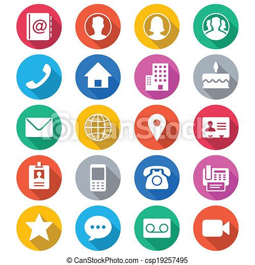 colorare, appartamento, contatto, icone - csp19257495