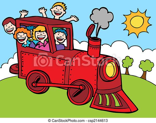 colorare, cavalcata, treno, parco, cartone animato - csp2144613