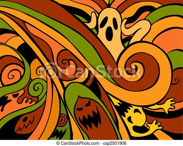 colorare, fantasmi, halloween - csp2501906