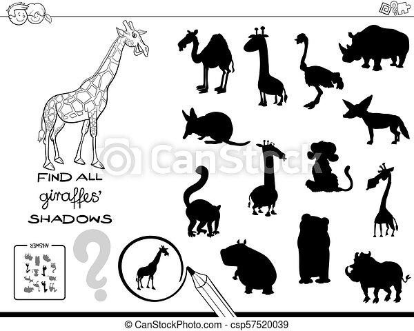 colorare, gioco, libro, uggia, giraffe - csp57520039