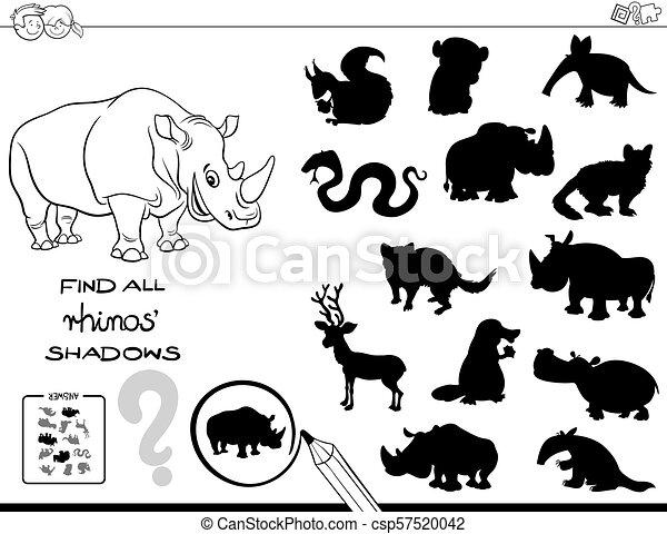 colorare, gioco, rhinos, uggia, libro - csp57520042