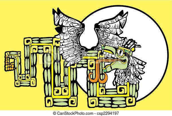 colorare, kukulcan, mayan, immagine - csp2294197