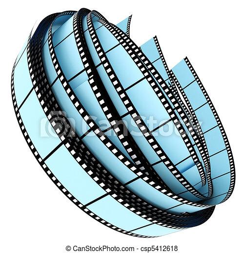 colorare, rotolato, segmento, su, film - csp5412618