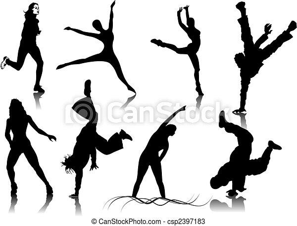 colorare, silhouettes., uno, vettore, idoneità, scatto, cambiamento, donne - csp2397183