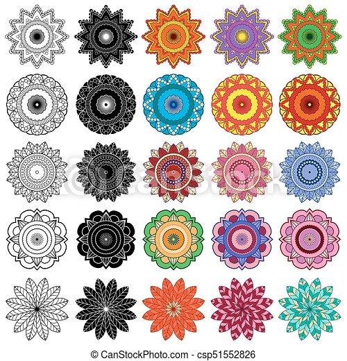 Colorare Stilizzato Fiori Set Nero Stilizzato Set Dieci