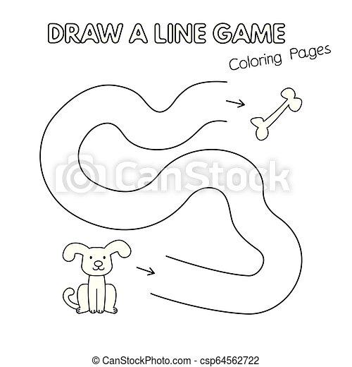 coloration, gosses, chien, jeu, livre, dessin animé - csp64562722
