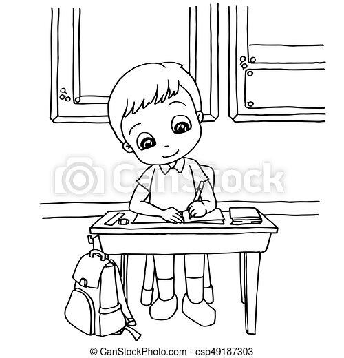 Coloration gosses classe vecteur dessin anim devoirs page coloration gosses - Dessin classe ...