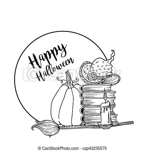 Coloration Halloween Accessoires Livre Conception Sorciere Vacances Page Heureux