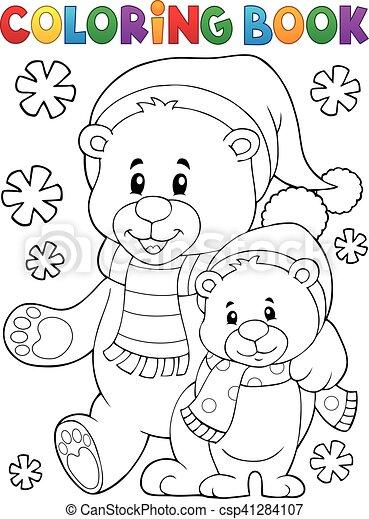coloration, hiver, ours, 1, thème, livre - csp41284107