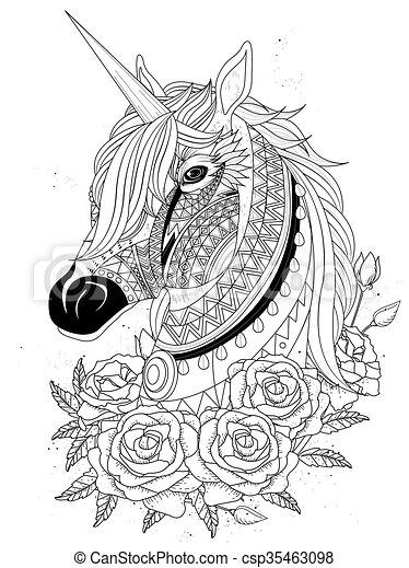 coloration, page, sacré, licorne - csp35463098