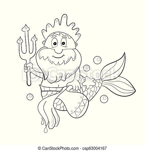coloration, poseidon., horoscope, -, aquarius., signe, gosses, zodiaque, dessin animé - csp63004167