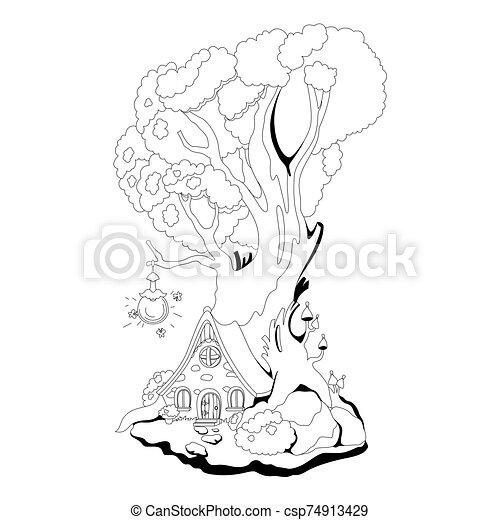 coloration, vecteur, book:, maison, fée, arbre., racines, conte, illustration, magie - csp74913429