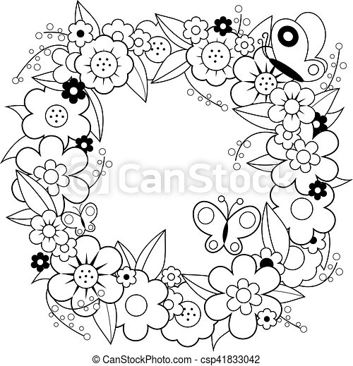 Coloration Wreath Vecteur Noir Fleur Page Blanc