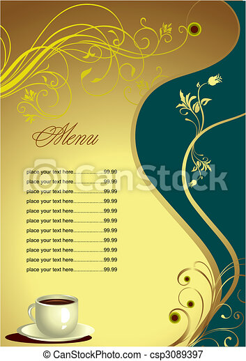 colorato, ristorante, menu., illustrazione, vettore, (cafe), grafici - csp3089397