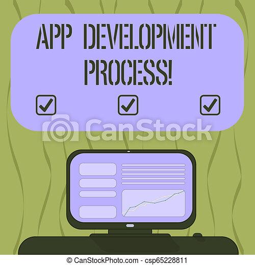 Una nota que muestra proceso de desarrollo de aplicaciones. Una foto de negocios que muestra predicciones de los próximos comercios de una pantalla de ordenador montada con gráficos de línea en la caja de texto de color blanco de escritorio. - csp65228811