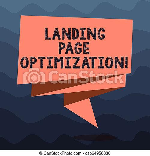 La nota de escritura muestra la optimización de la página de aterrizaje. La foto de negocios muestra mejores elementos de un sitio web para elevar la conversión doblada cinta 3D desnúdate de colores sólidos foto en blanco para la celebración. - csp64958830